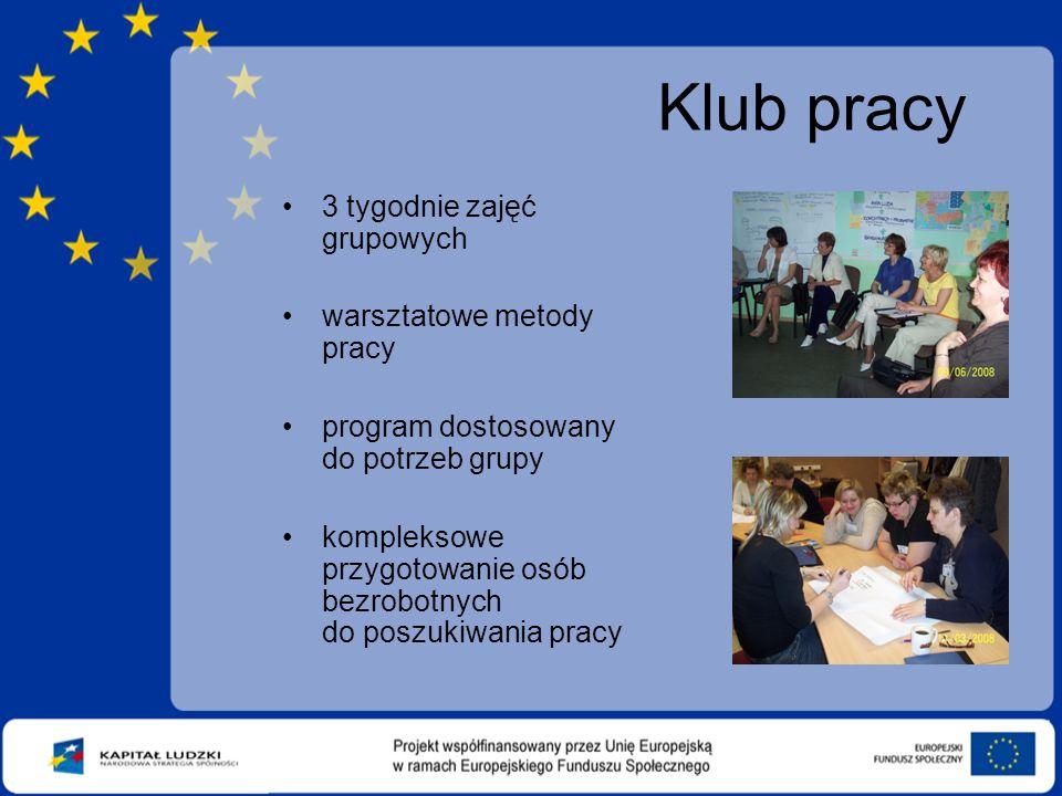 Klub pracy 3 tygodnie zajęć grupowych warsztatowe metody pracy program dostosowany do potrzeb grupy kompleksowe przygotowanie osób bezrobotnych do poszukiwania pracy
