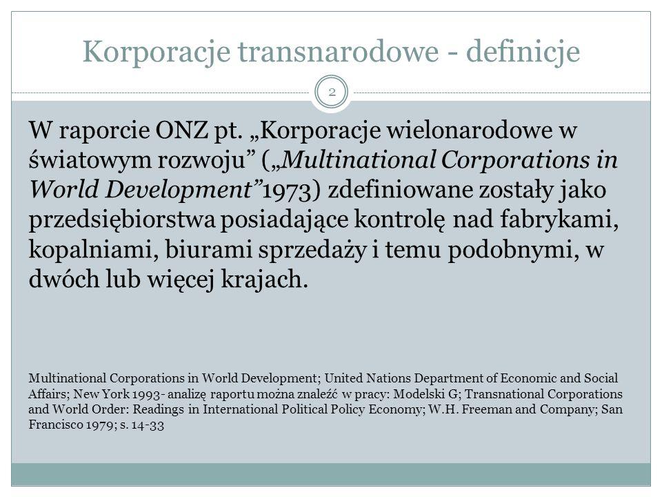 Korporacje transnarodowe - definicje W raporcie ONZ pt.