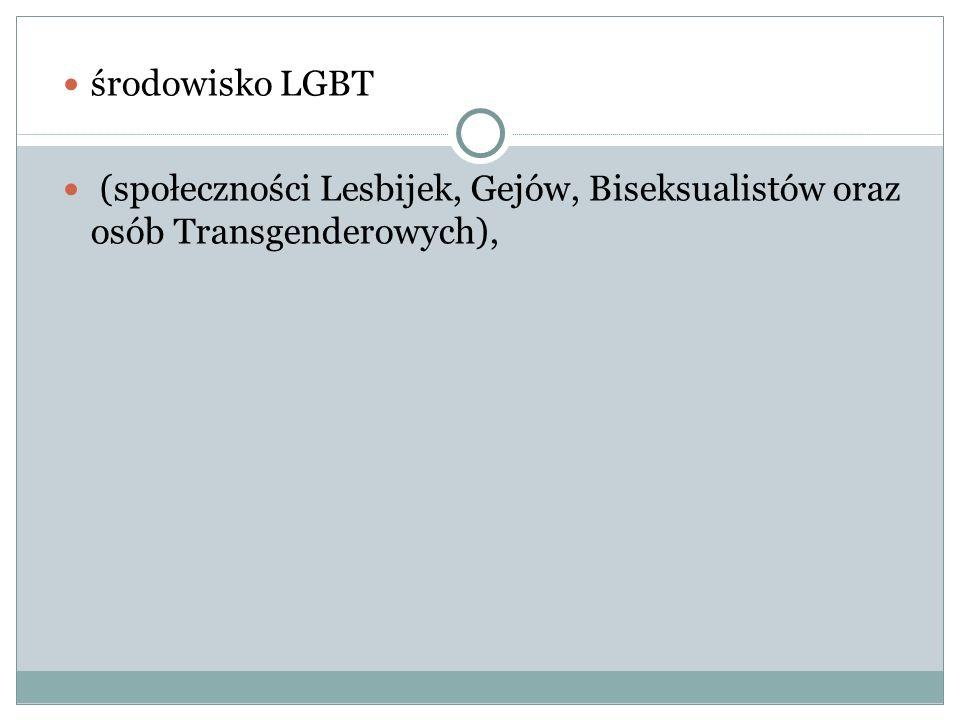 środowisko LGBT (społeczności Lesbijek, Gejów, Biseksualistów oraz osób Transgenderowych),