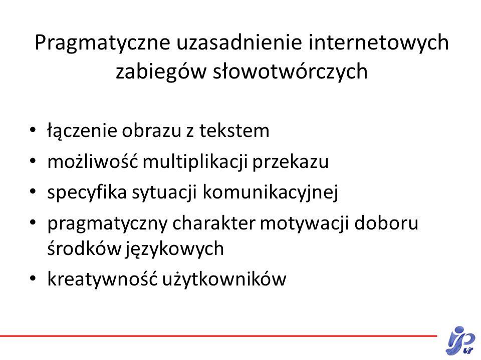 Pragmatyczne uzasadnienie internetowych zabiegów słowotwórczych łączenie obrazu z tekstem możliwość multiplikacji przekazu specyfika sytuacji komunikacyjnej pragmatyczny charakter motywacji doboru środków językowych kreatywność użytkowników