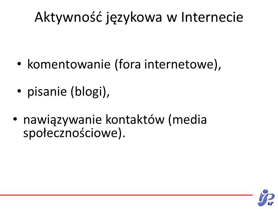 Aktywność językowa w Internecie komentowanie (fora internetowe), nawiązywanie kontaktów (media społecznościowe).