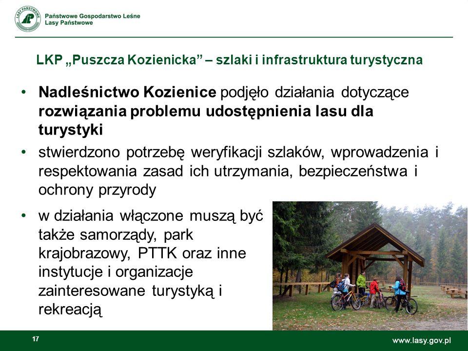 """17 LKP """"Puszcza Kozienicka"""" – szlaki i infrastruktura turystyczna Nadleśnictwo Kozienice podjęło działania dotyczące rozwiązania problemu udostępnieni"""