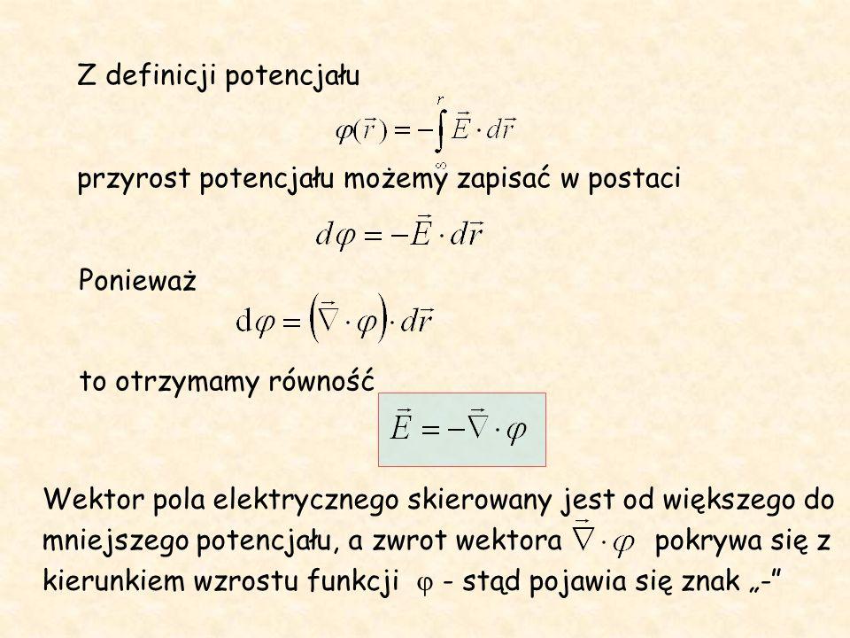 Potencjał pola wytworzonego przez nieskończenie długą nić, naładowaną ładunkiem o gęstości liniowej + A r Wielkość stałej nie wpływa na wartość pola.