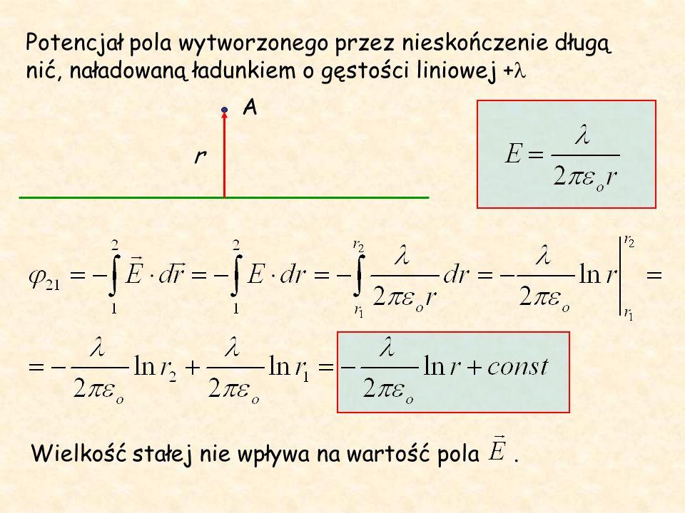 Różnica potencjałów = napięcie a więc praca a b q Praca wykonana przy przeniesieniu ładunku q pomiędzy punktami a i b jest równa: