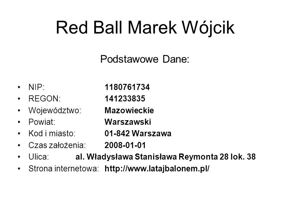 Red Ball Marek Wójcik Podstawowe Dane: NIP:1180761734 REGON:141233835 Województwo:Mazowieckie Powiat:Warszawski Kod i miasto:01-842 Warszawa Czas założenia:2008-01-01 Ulica:al.