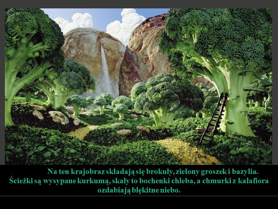 Na ten krajobraz składają się brokuły, zielony groszek i bazylia.