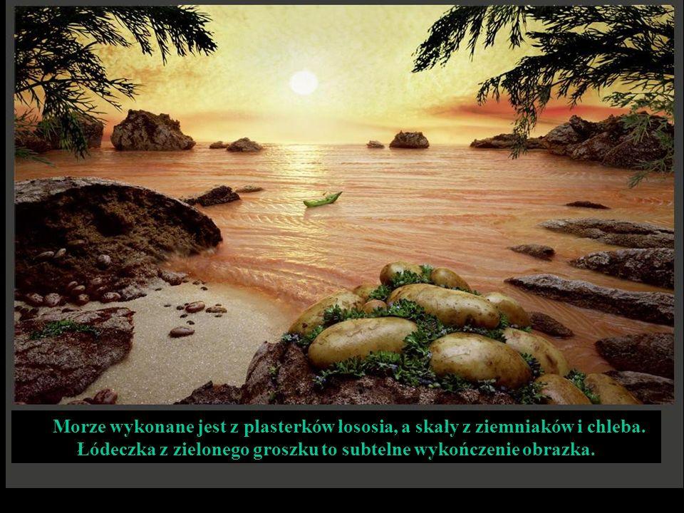 Morze wykonane jest z plasterków łososia, a skały z ziemniaków i chleba.