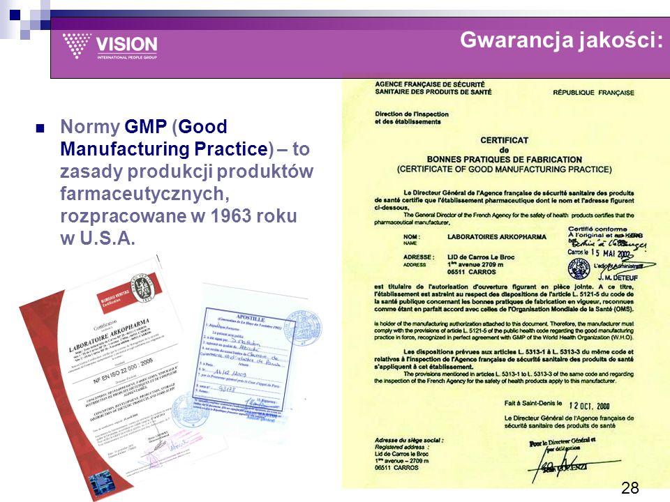 Normy GMP (Good Manufacturing Practice) – to zasady produkcji produktów farmaceutycznych, rozpracowane w 1963 roku w U.S.A.