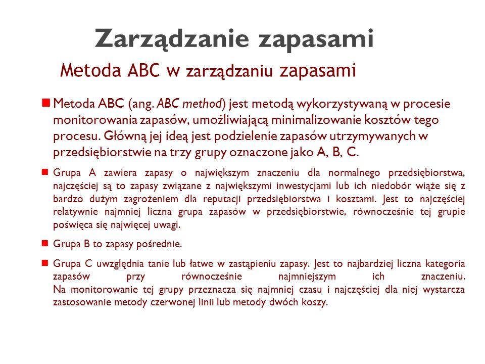 Metoda ABC w zarządzaniu zapasami Metoda ABC (ang.