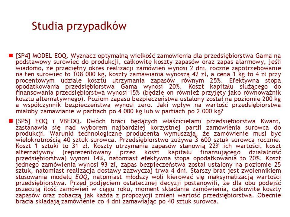 Studia przypadków [SP4] MODEL EOQ.