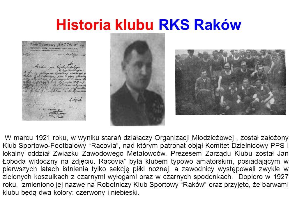 Historia klubu RKS Raków W marcu 1921 roku, w wyniku starań działaczy Organizacji Młodzieżowej, został założony Klub Sportowo-Footbalowy Racovia , nad którym patronat objął Komitet Dzielnicowy PPS i lokalny oddział Związku Zawodowego Metalowców.