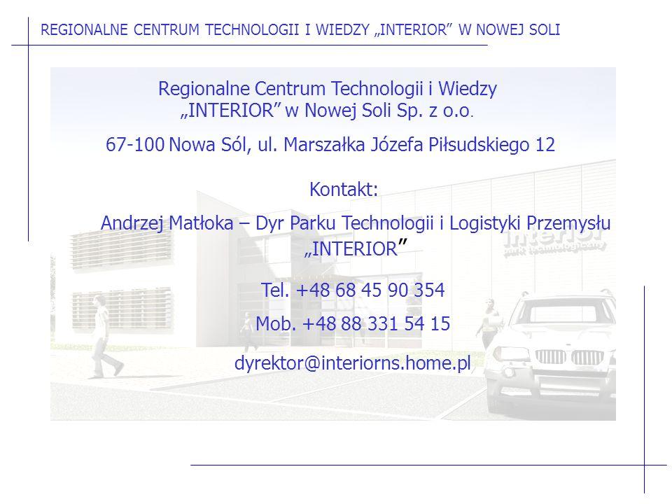 """Regionalne Centrum Technologii i Wiedzy """"INTERIOR w Nowej Soli Sp."""