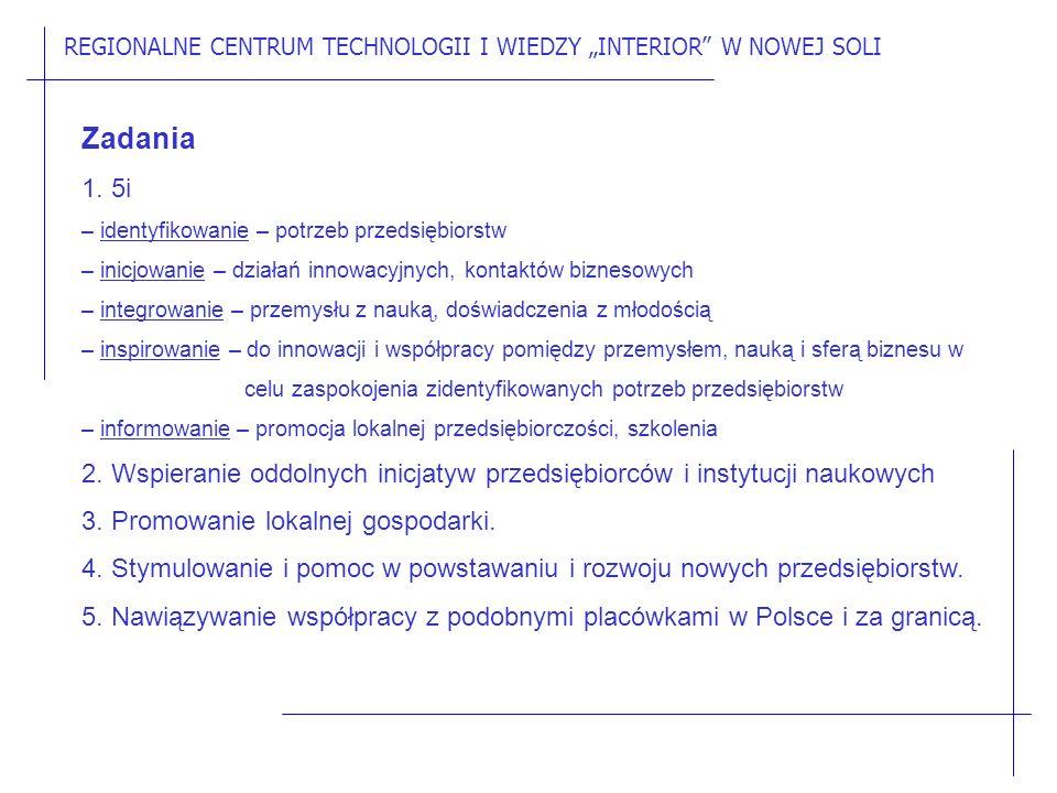 """REGIONALNE CENTRUM TECHNOLOGII I WIEDZY """"INTERIOR W NOWEJ SOLI Zadania 1."""