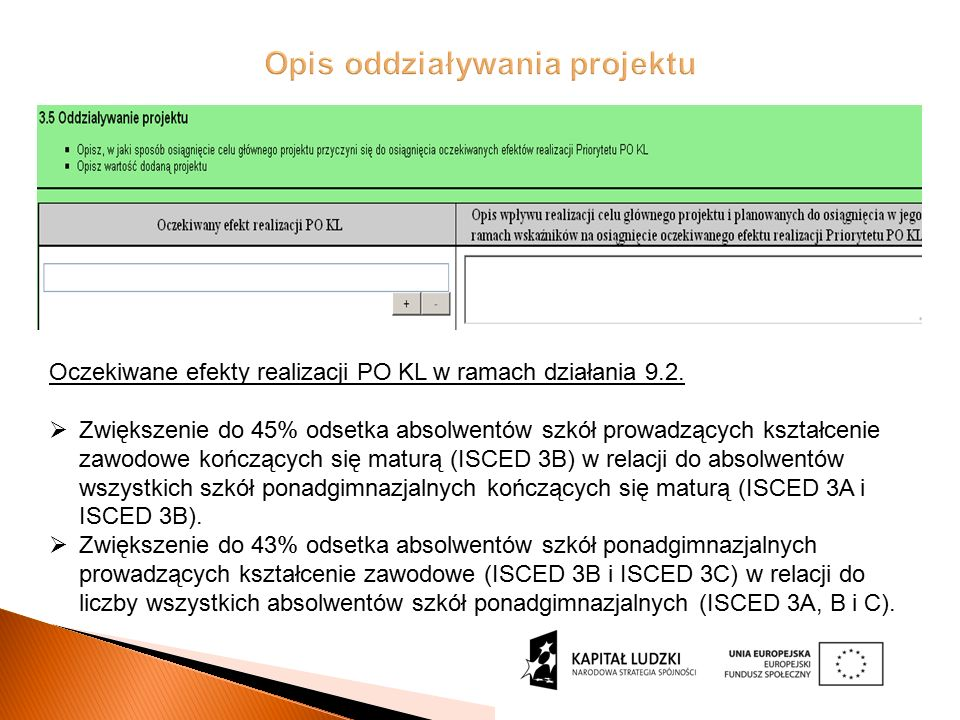 Oczekiwane efekty realizacji PO KL w ramach działania 9.2.