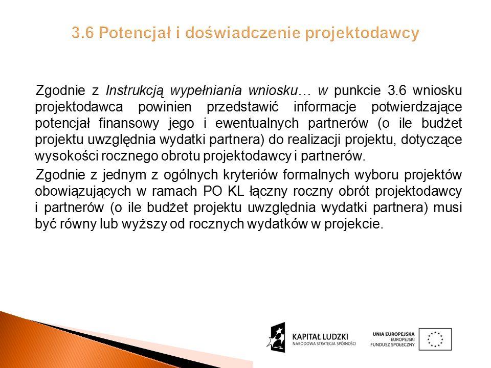 Zgodnie z Instrukcją wypełniania wniosku… w punkcie 3.6 wniosku projektodawca powinien przedstawić informacje potwierdzające potencjał finansowy jego i ewentualnych partnerów (o ile budżet projektu uwzględnia wydatki partnera) do realizacji projektu, dotyczące wysokości rocznego obrotu projektodawcy i partnerów.