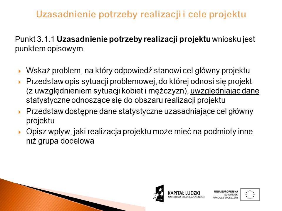 Punkt 3.1.1 Uzasadnienie potrzeby realizacji projektu wniosku jest punktem opisowym.