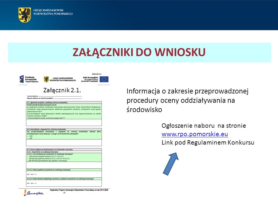 ZAŁĄCZNIKI DO WNIOSKU Załącznik 2.1.