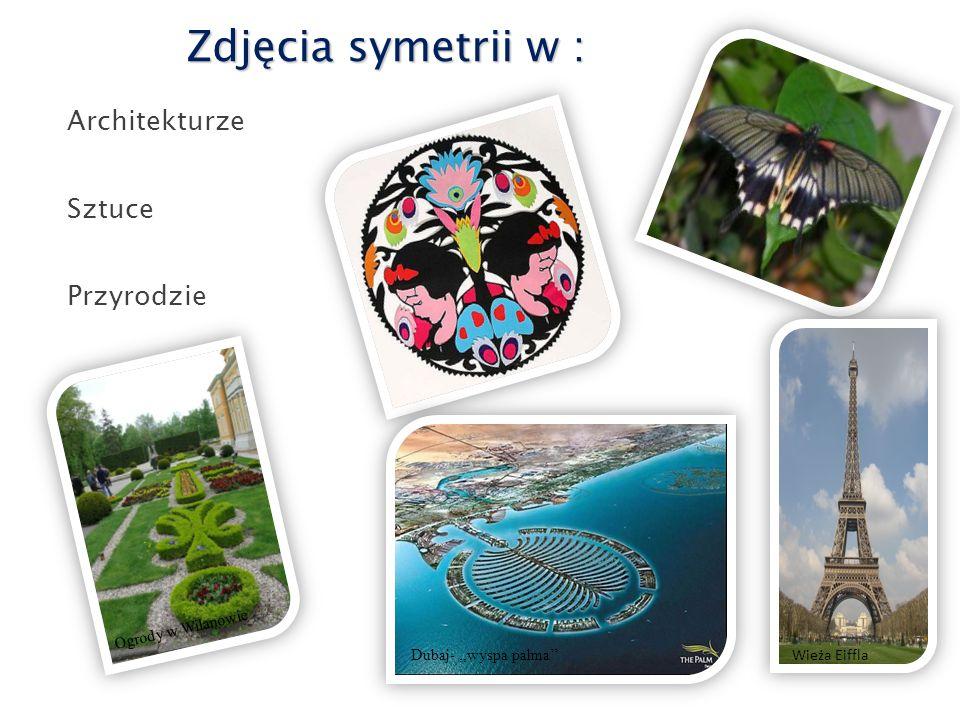 Zdjęcia symetrii w : Architekturze Sztuce Przyrodzie Dubaj-,,wyspa palma'' Ogrody w Wilanowie Wieża Eiffla