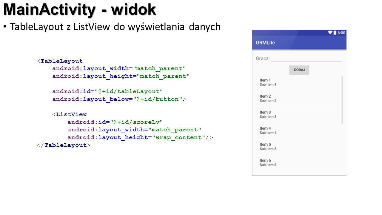 MainActivity - widok TableLayout z ListView do wyświetlania danych