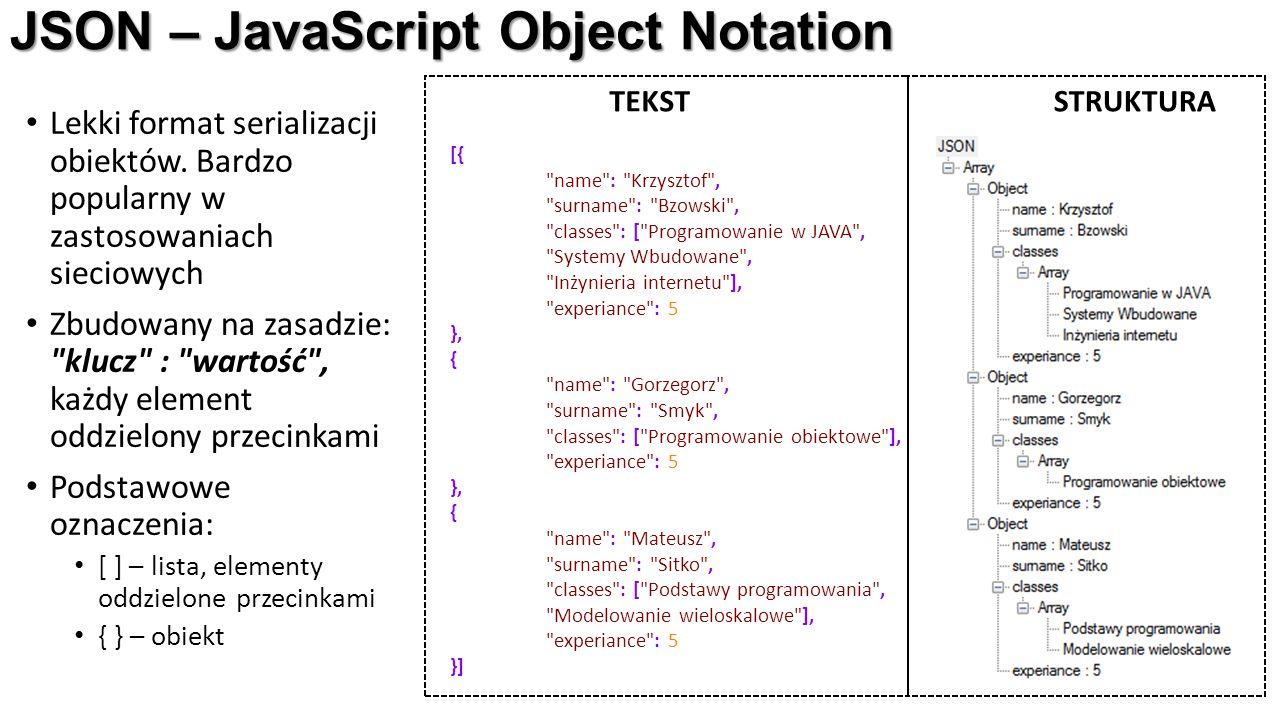 JSON – JavaScript Object Notation Lekki format serializacji obiektów. Bardzo popularny w zastosowaniach sieciowych Zbudowany na zasadzie: