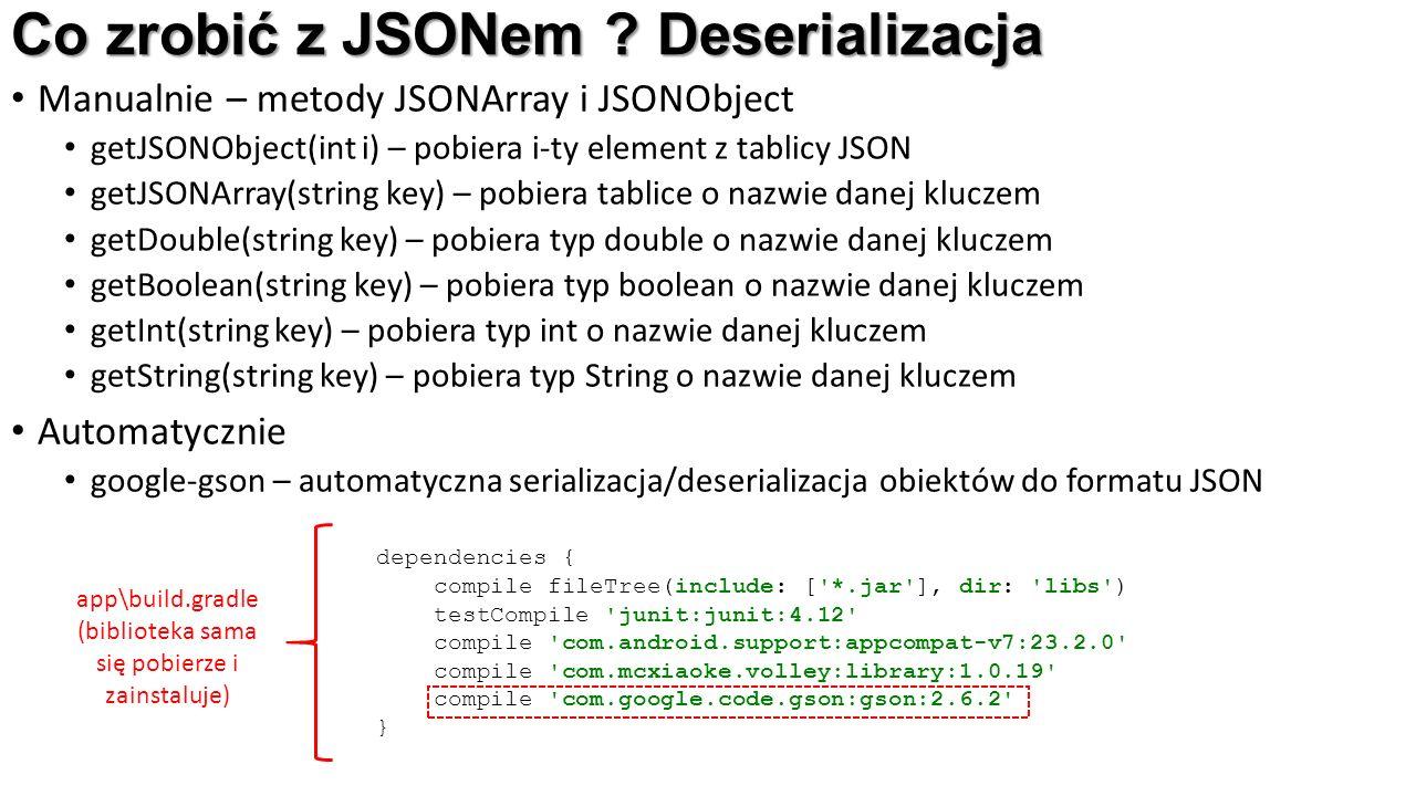 Co zrobić z JSONem ? Deserializacja Manualnie – metody JSONArray i JSONObject getJSONObject(int i) – pobiera i-ty element z tablicy JSON getJSONArray(