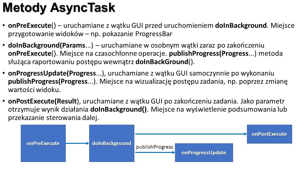Metody AsyncTask onPreExecute() – uruchamiane z wątku GUI przed uruchomieniem doInBackground. Miejsce przygotowanie widoków – np. pokazanie ProgressBa