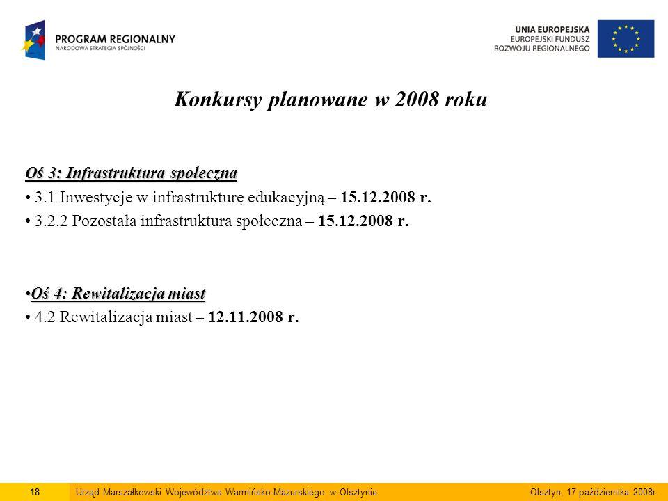 Konkursy planowane w 2008 roku Oś 3: Infrastruktura społeczna 3.1 Inwestycje w infrastrukturę edukacyjną – 15.12.2008 r.