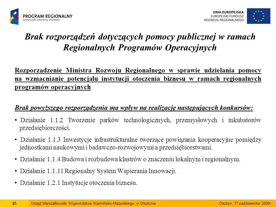 Brak rozporządzeń dotyczących pomocy publicznej w ramach Regionalnych Programów Operacyjnych 25Urząd Marszałkowski Województwa Warmińsko-Mazurskiego w Olsztynie Olsztyn, 17 października 2008r.