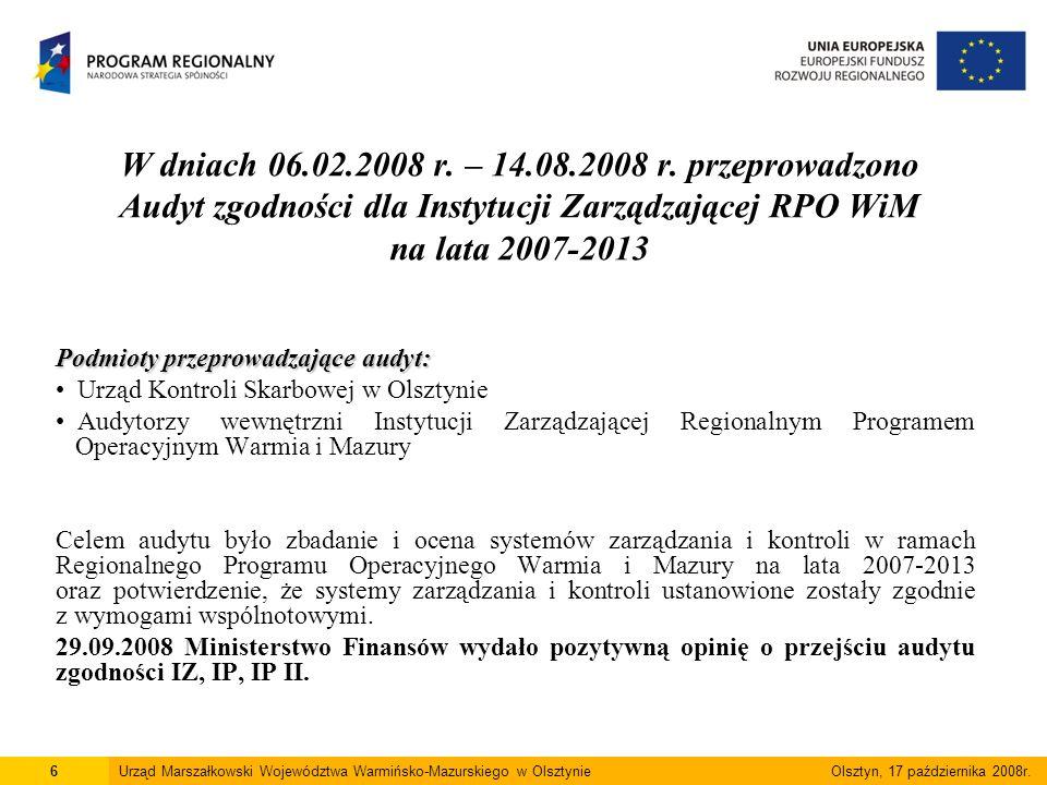 Konkursy planowane w 2008 roku Oś 1: Przedsiębiorczość 1.1.1 Inwestycje w infrastrukturę badawczą instytucji B+RT oraz specjalistyczne ośrodki kompetencji technologicznych – 01.12.2008 r.