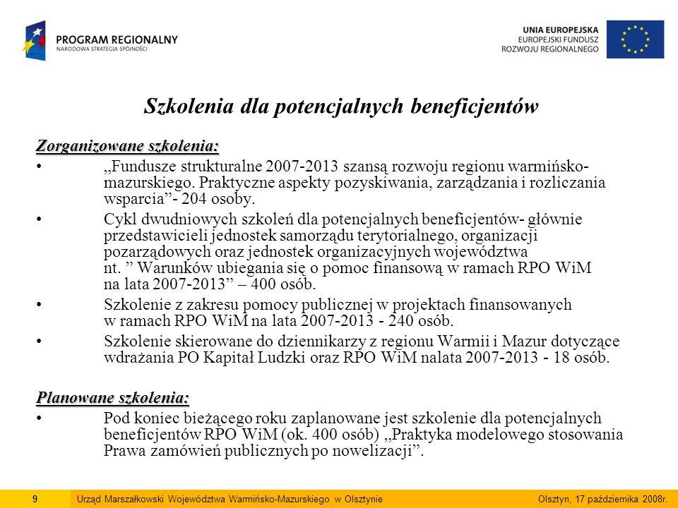 Eksperci regionalni 22 lipca 2008 roku Zarząd Województwa Warmińsko-Mazurskiego podjął uchwałę w sprawie przyjęcia Regionalnej listy ekspertów (287 ekspertów) w tym: 243 ekspertów w ramach poszczególnych dziedzin (36 dziedzin) 23 ekspertów z zakresu analizy finansowej i ekonomicznej 21 ekspertów środowiskowych.