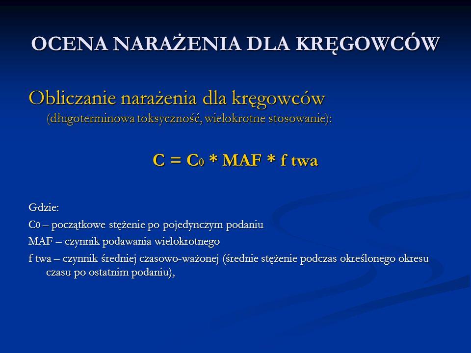 OCENA NARAŻENIA DLA KRĘGOWCÓW Obliczanie narażenia dla kręgowców (długoterminowa toksyczność, wielokrotne stosowanie): C = C 0 * MAF * f twa Gdzie: C