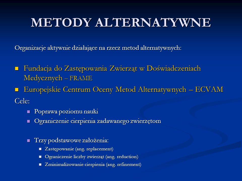 METODY ALTERNATYWNE Organizacje aktywnie działające na rzecz metod alternatywnych: Fundacja do Zastępowania Zwierząt w Doświadczeniach Medycznych – FRAME Fundacja do Zastępowania Zwierząt w Doświadczeniach Medycznych – FRAME Europejskie Centrum Oceny Metod Alternatywnych – ECVAM Europejskie Centrum Oceny Metod Alternatywnych – ECVAMCele: Poprawa poziomu nauki Poprawa poziomu nauki Ograniczenie cierpienia zadawanego zwierzętom Ograniczenie cierpienia zadawanego zwierzętom Trzy podstawowe założenia: Trzy podstawowe założenia: Zastępowanie (ang.