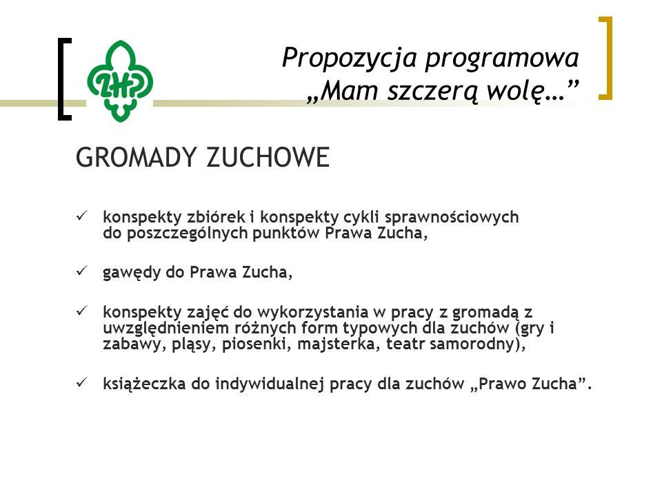 """Propozycja programowa """"Mam szczerą wolę…"""" GROMADY ZUCHOWE konspekty zbiórek i konspekty cykli sprawnościowych do poszczególnych punktów Prawa Zucha, g"""