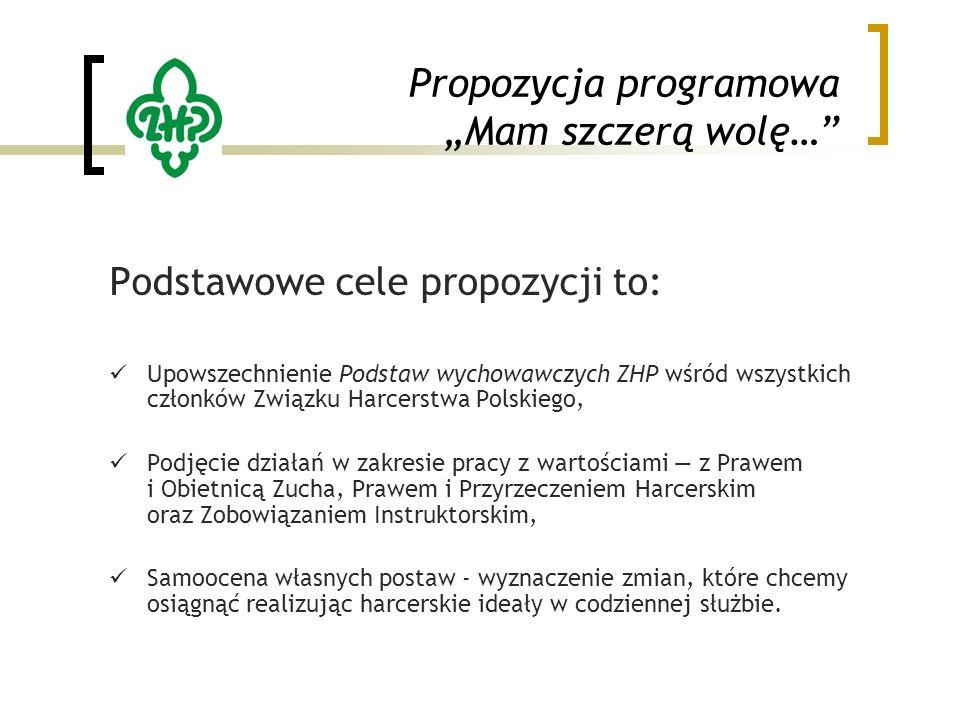 """Propozycja programowa """"Mam szczerą wolę… Podstawowe cele propozycji to: Upowszechnienie Podstaw wychowawczych ZHP wśród wszystkich członków Związku Harcerstwa Polskiego, Podjęcie działań w zakresie pracy z wartościami — z Prawem i Obietnicą Zucha, Prawem i Przyrzeczeniem Harcerskim oraz Zobowiązaniem Instruktorskim, Samoocena własnych postaw - wyznaczenie zmian, które chcemy osiągnąć realizując harcerskie ideały w codziennej służbie."""