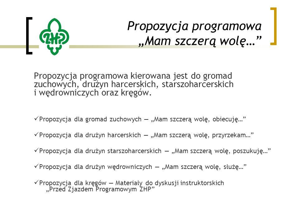 """Propozycja programowa """"Mam szczerą wolę… Propozycja programowa kierowana jest do gromad zuchowych, drużyn harcerskich, starszoharcerskich i wędrowniczych oraz kręgów."""