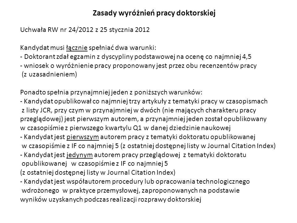Uchwała RW nr 24/2012 z 25 stycznia 2012 Kandydat musi łącznie spełniać dwa warunki: - Doktorant zdał egzamin z dyscypliny podstawowej na ocenę co najmniej 4,5 - wniosek o wyróżnienie pracy proponowany jest przez obu recenzentów pracy (z uzasadnieniem) Ponadto spełnia przynajmniej jeden z poniższych warunków: - Kandydat opublikował co najmniej trzy artykuły z tematyki pracy w czasopismach z listy JCR, przy czym w przynajmniej w dwóch (nie mających charakteru pracy przeglądowej) jest pierwszym autorem, a przynajmniej jeden został opublikowany w czasopiśmie z pierwszego kwartylu Q1 w danej dziedzinie naukowej - Kandydat jest pierwszym autorem pracy z tematyki doktoratu opublikowanej w czasopiśmie z IF co najmniej 5 (z ostatniej dostępnej listy w Journal Citation Index) - Kandydat jest jedynym autorem pracy przeglądowej z tematyki doktoratu opublikowanej w czasopiśmie z IF co najmniej 5 (z ostatniej dostępnej listy w Journal Citation Index) - Kandydat jest współautorem procedury lub opracowania technologicznego wdrożonego w praktyce przemysłowej, zaproponowanych na podstawie wyników uzyskanych podczas realizacji rozprawy doktorskiej Zasady wyróżnień pracy doktorskiej