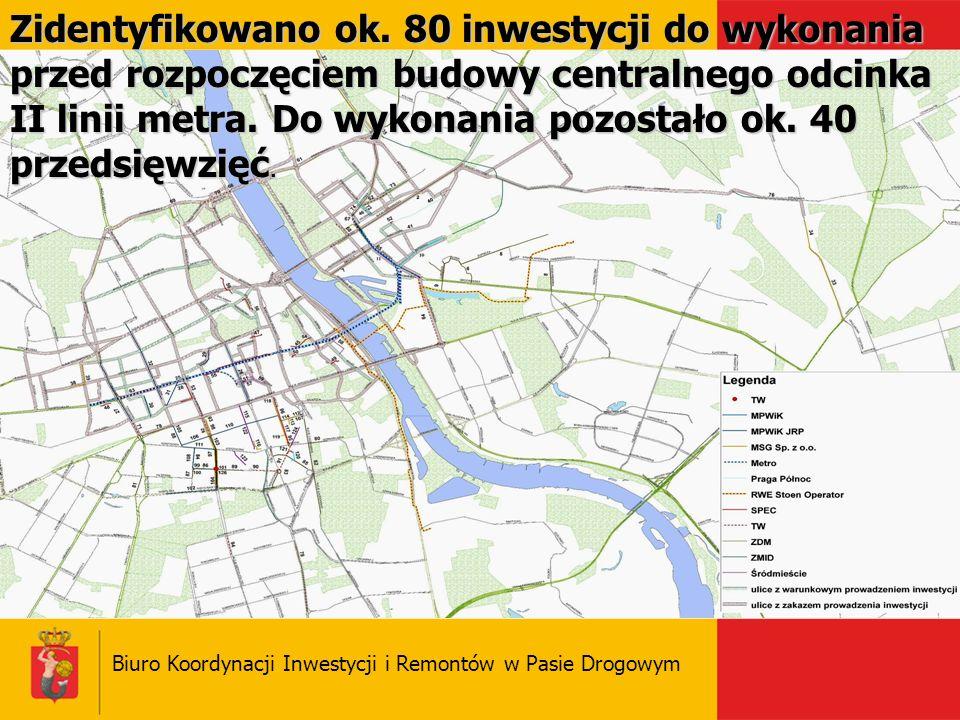 Biuro Koordynacji Inwestycji i Remontów w Pasie Drogowym Zidentyfikowano ok. 80 inwestycji do wykonania przed rozpoczęciem budowy centralnego odcinka