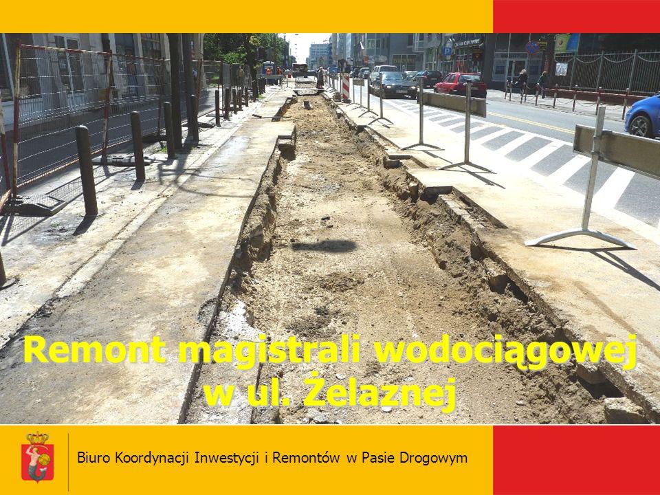 Remont magistrali wodociągowej w ul. Żelaznej Biuro Koordynacji Inwestycji i Remontów w Pasie Drogowym
