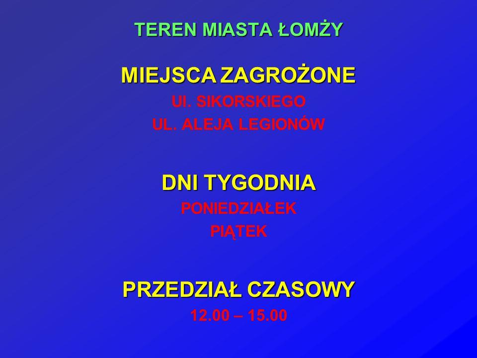 TEREN MIASTA ŁOMŻY MIEJSCA ZAGROŻONE Ul. SIKORSKIEGO UL.