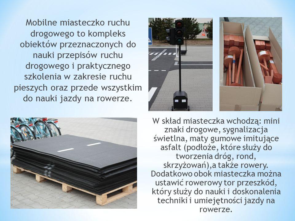 Mobilne miasteczko ruchu drogowego to kompleks obiektów przeznaczonych do nauki przepisów ruchu drogowego i praktycznego szkolenia w zakresie ruchu pieszych oraz przede wszystkim do nauki jazdy na rowerze.