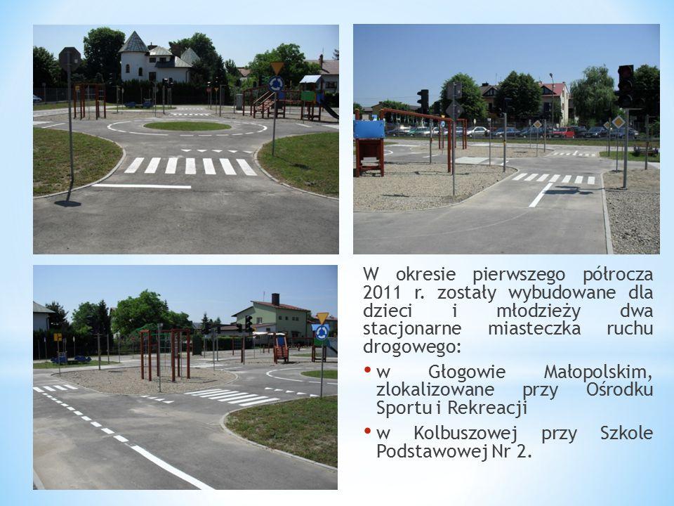 W okresie pierwszego półrocza 2011 r. zostały wybudowane dla dzieci i młodzieży dwa stacjonarne miasteczka ruchu drogowego: w Głogowie Małopolskim, zl