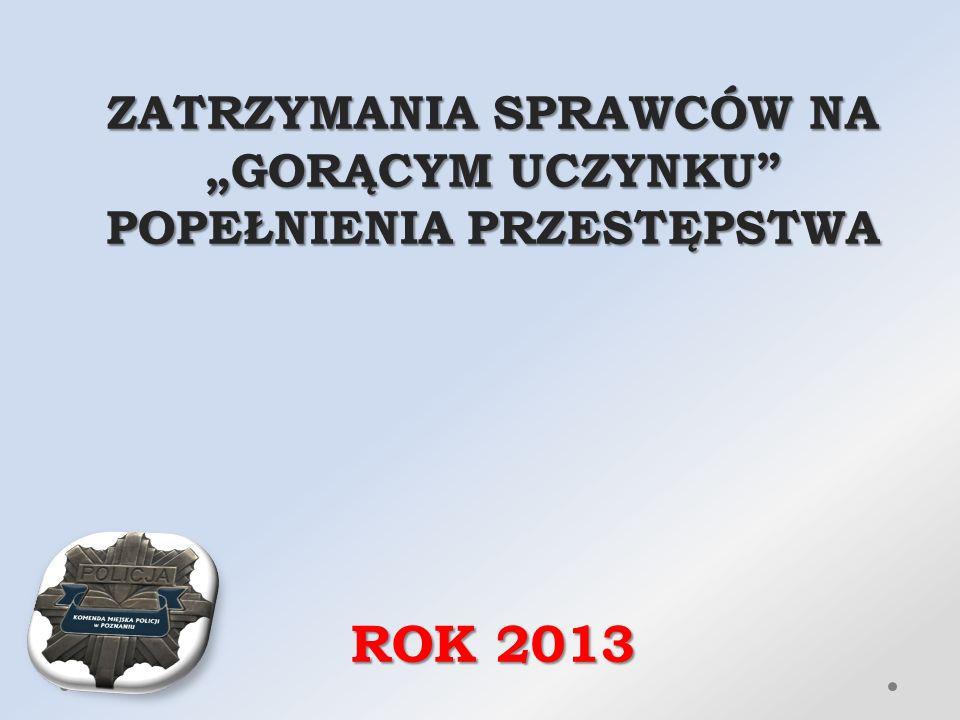 """ZATRZYMANIA SPRAWCÓW NA """"GORĄCYM UCZYNKU POPEŁNIENIA PRZESTĘPSTWA ROK 2013"""