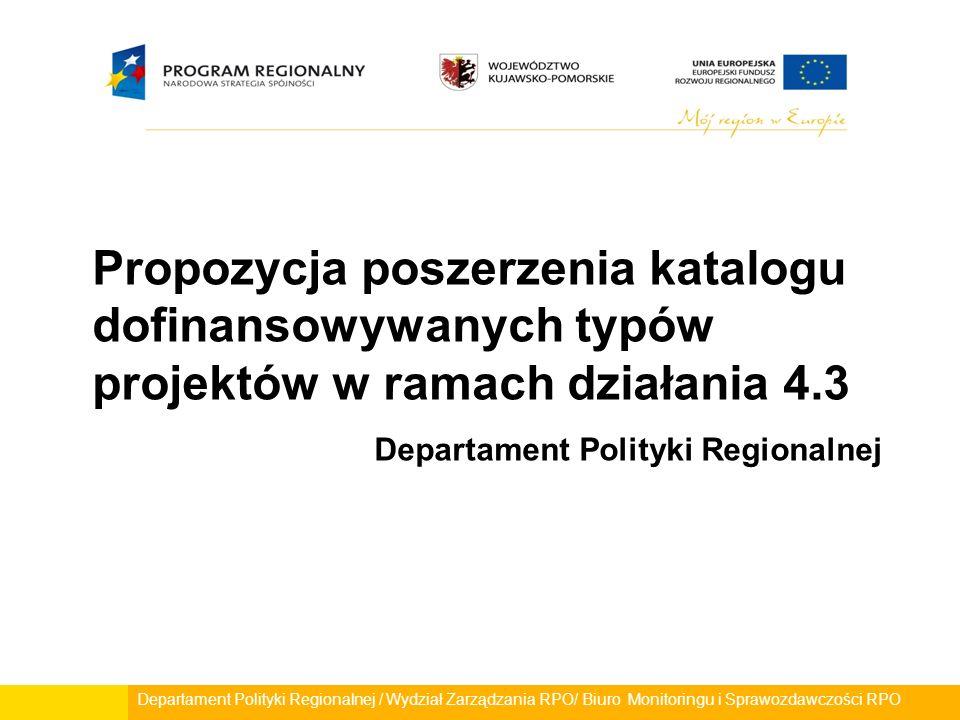 Departament Polityki Regionalnej / Wydział Zarządzania RPO/ Biuro Monitoringu i Sprawozdawczości RPO Propozycja poszerzenia katalogu dofinansowywanych