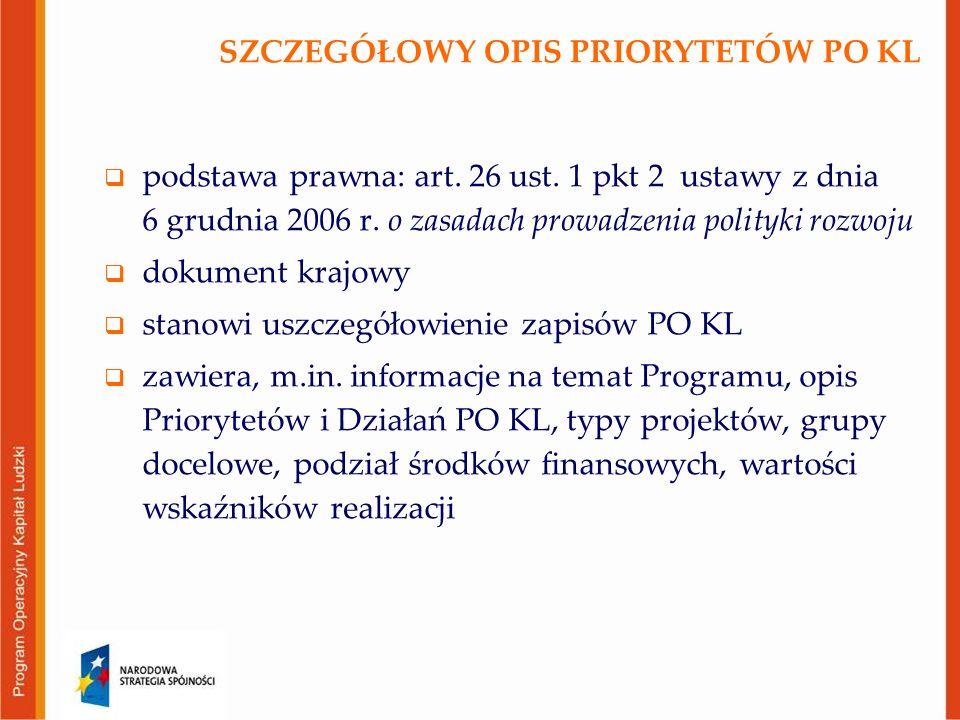 SZCZEGÓŁOWY OPIS PRIORYTETÓW PO KL  podstawa prawna: art. 26 ust. 1 pkt 2 ustawy z dnia 6 grudnia 2006 r. o zasadach prowadzenia polityki rozwoju  d