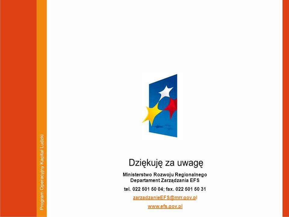 Dziękuję za uwagę Ministerstwo Rozwoju Regionalnego Departament Zarządzania EFS tel. 022 501 50 04; fax. 022 501 50 31 zarzadzanieEFS@mrr.gov.pl www.e