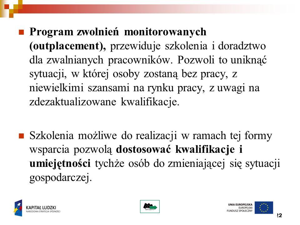 22 Program zwolnień monitorowanych (outplacement), przewiduje szkolenia i doradztwo dla zwalnianych pracowników.