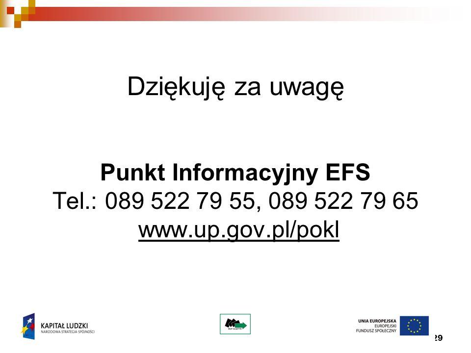 29 Dziękuję za uwagę Punkt Informacyjny EFS Tel.: 089 522 79 55, 089 522 79 65 www.up.gov.pl/pokl