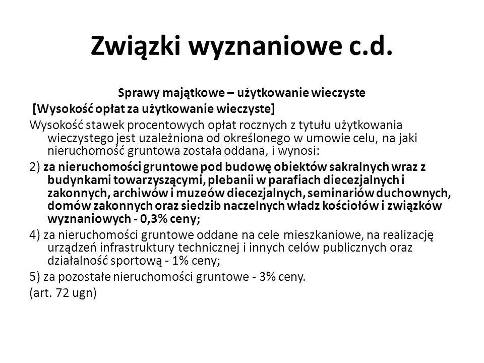 Związki wyznaniowe c.d.Zwolnienia podatkowe / celne 5.