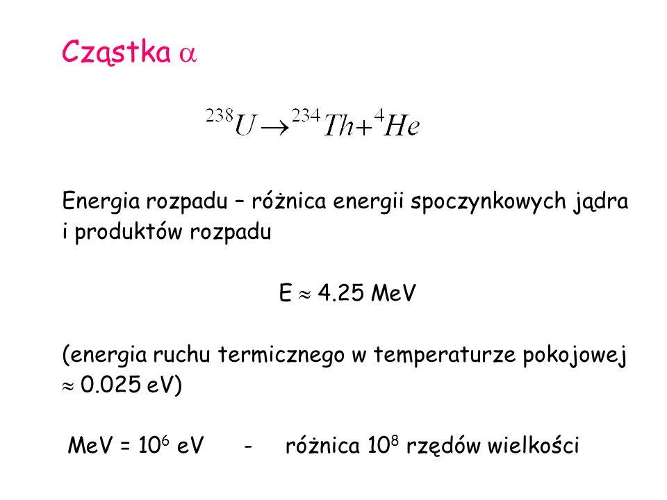 Cząstka  Energia rozpadu – różnica energii spoczynkowych jądra i produktów rozpadu E  4.25 MeV (energia ruchu termicznego w temperaturze pokojowej  0.025 eV) MeV = 10 6 eV - różnica 10 8 rzędów wielkości