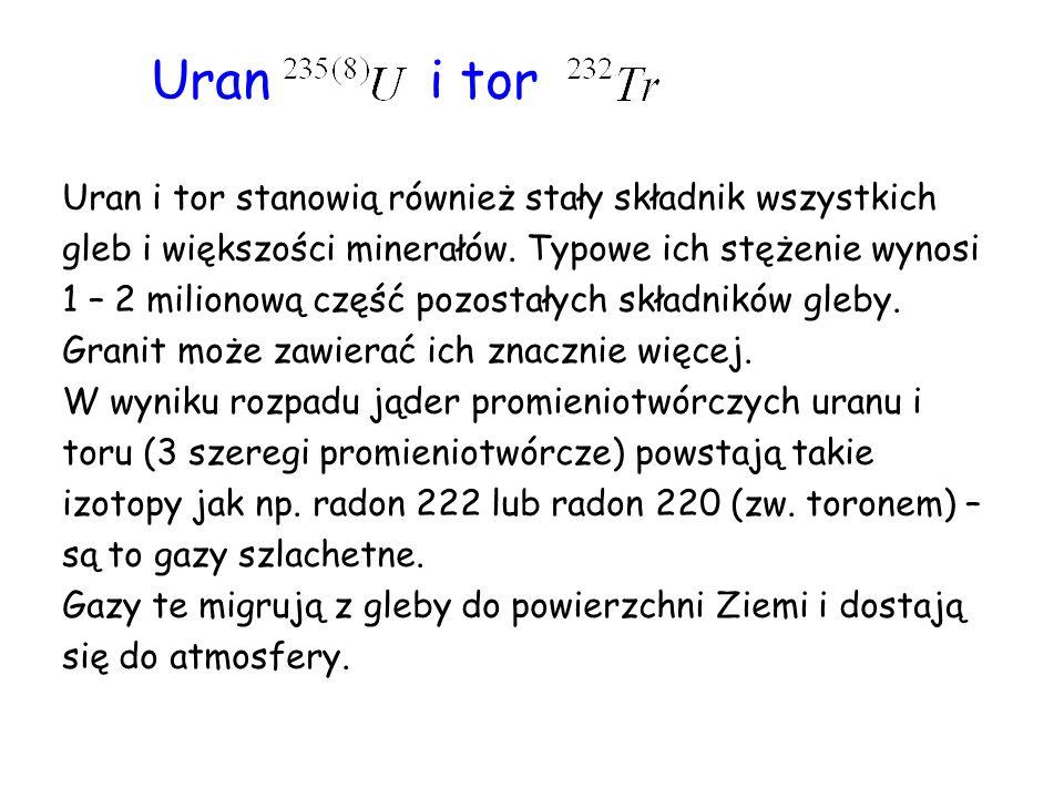 Uran i tor Uran i tor stanowią również stały składnik wszystkich gleb i większości minerałów.